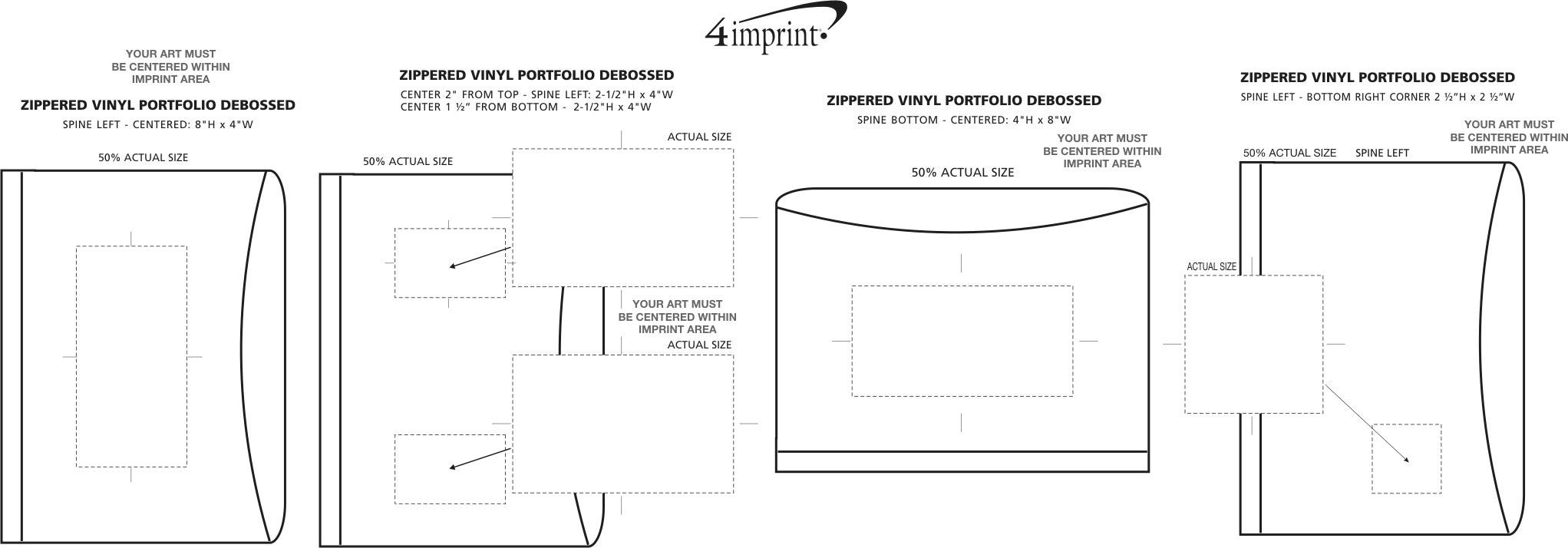 Imprint Area of Zippered Vinyl Portfolio - Debossed