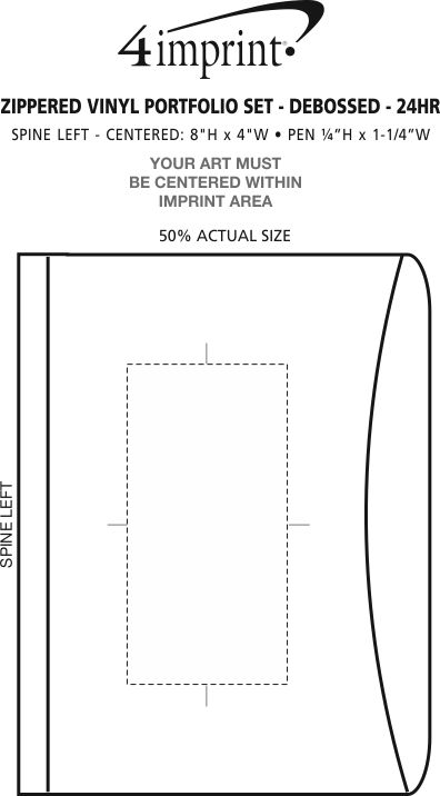 Imprint Area of Zippered Vinyl Portfolio Set - Debossed - 24 hr