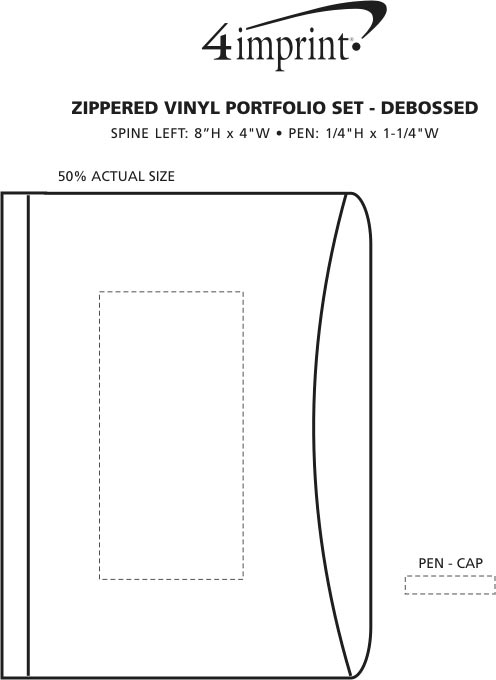 Imprint Area of Zippered Vinyl Portfolio Set - Debossed