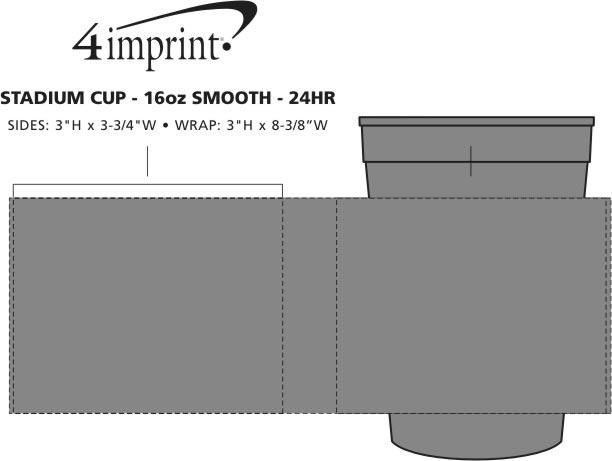 Imprint Area of Stadium Cup - 16 oz. - Smooth - 24 hr
