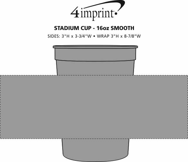 Imprint Area of Stadium Cup - 16 oz. - Smooth