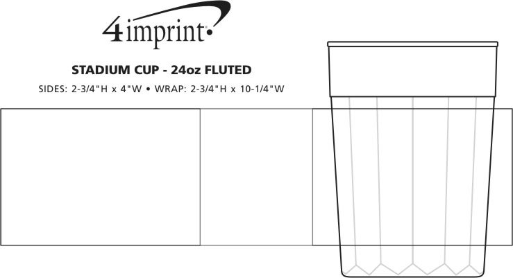Imprint Area of Stadium Cup - 24 oz. - Fluted