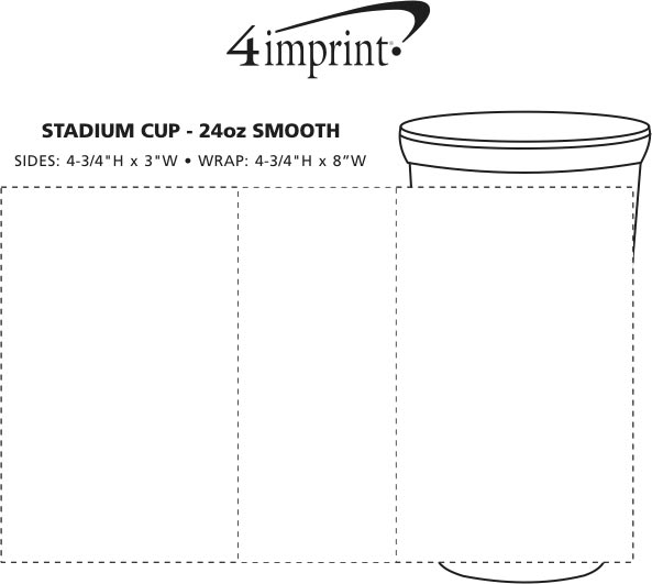 Imprint Area of Stadium Cup - 24 oz. - Smooth