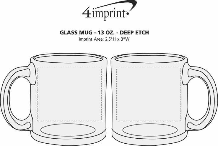 Imprint Area of Glass Mug - 13 oz. - Deep Etch