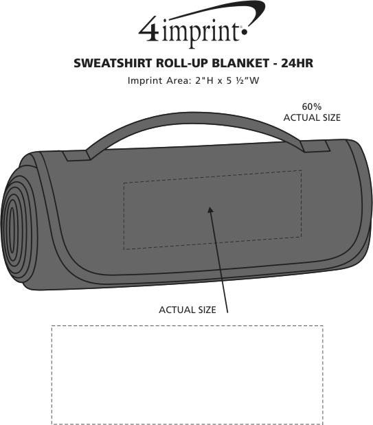 Imprint Area of Sweatshirt Roll-Up Blanket - 24 hr
