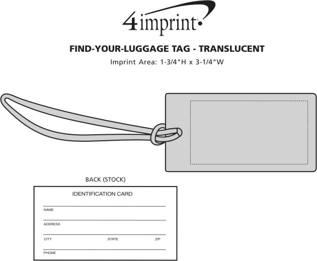 Imprint Area of Find-Your-Luggage Tag - Translucent