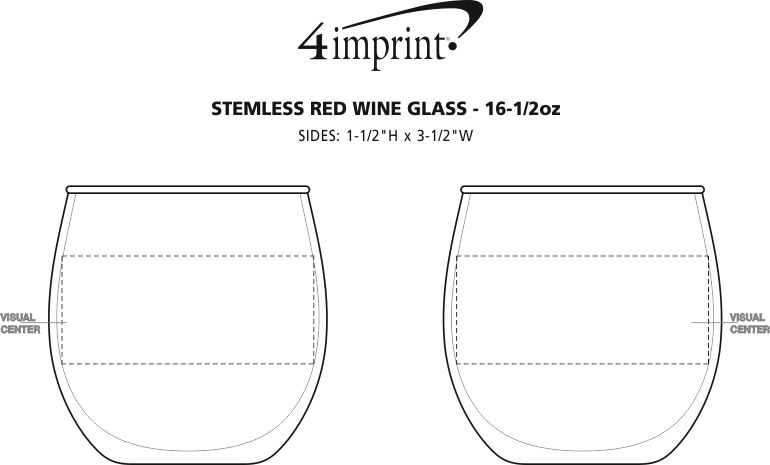 Imprint Area of Stemless Red Wine Glass - 16.75 oz.