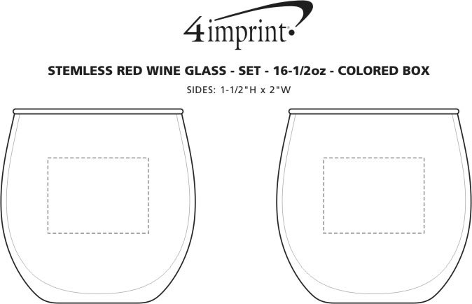 Imprint Area of Stemless Red Wine Glass Set - 16.75 oz. - Colored Box