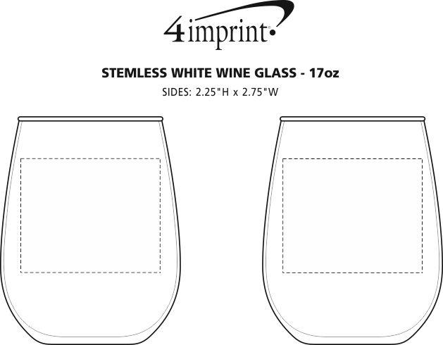 Imprint Area of Stemless White Wine Glass - 17 oz.