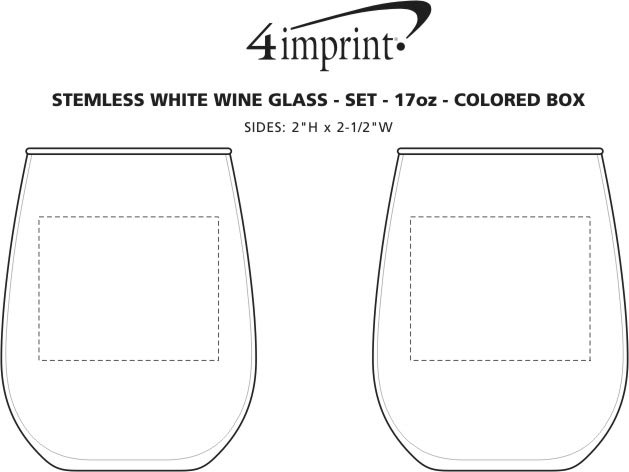 Imprint Area of Stemless White Wine Glass Set - 17 oz. - Colored Box