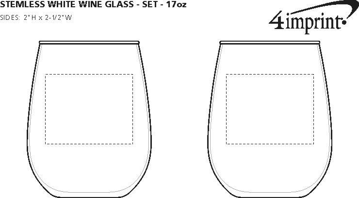 Imprint Area of Stemless White Wine Glass Set - 17 oz.