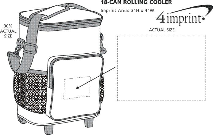 Imprint Area of 18-Can Rolling Cooler