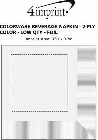 Imprint Area of Colorware Beverage Napkin - 2-ply - Color - Low Qty - Foil