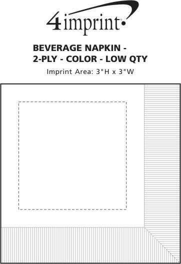 Imprint Area of Colorware Beverage Napkin - 2-ply - Color - Low Qty