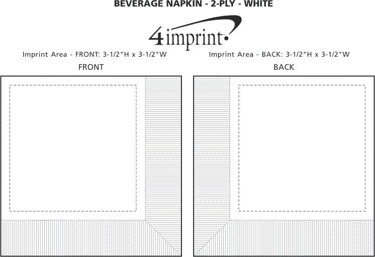 Imprint Area of Beverage Napkin - 2-ply - White