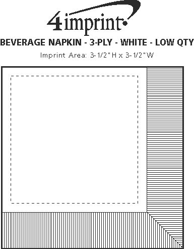 Imprint Area of Beverage Napkin - 3-ply - White - Low Qty