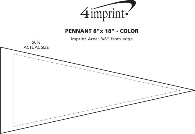 """Imprint Area of Pennant 8"""" x 18"""" - Colors"""
