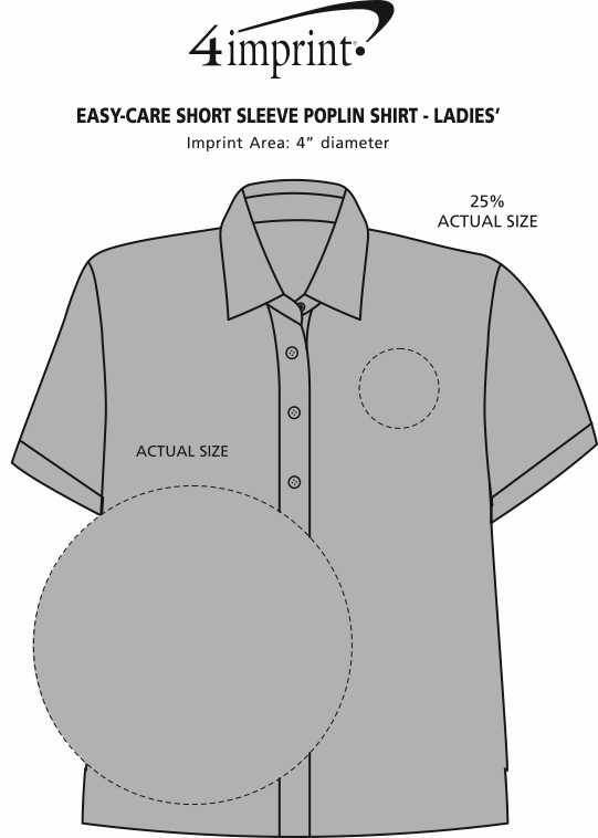 Imprint Area of Easy-Care Short Sleeve Poplin Shirt - Ladies'
