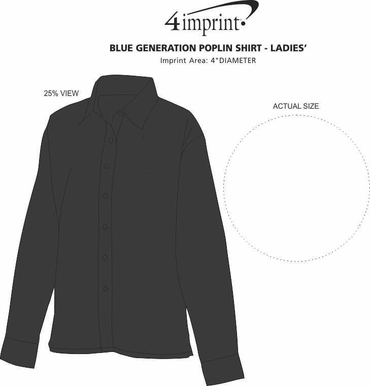Imprint Area of Easy-Care Poplin Shirt - Ladies'