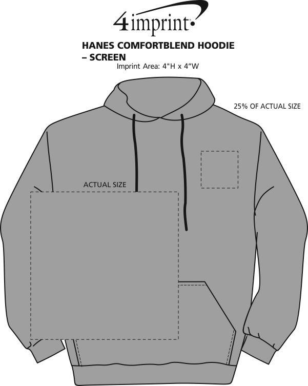 Imprint Area of Hanes ComfortBlend Hoodie - Screen