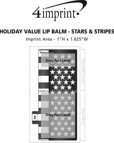 Imprint Area of Holiday Value Lip Balm - Stars & Stripes