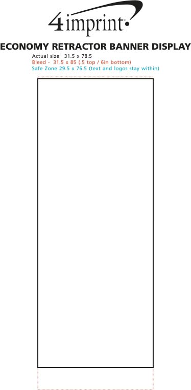 "Imprint Area of Economy Retractor Banner Display - 31-1/2"""