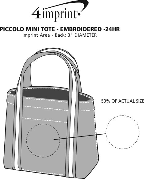 Imprint Area of Piccolo Mini Tote - Embroidered - 24 hr