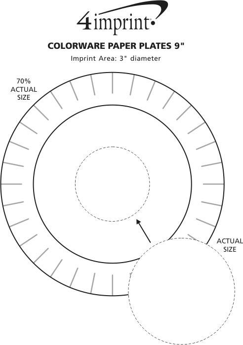 "Imprint Area of Colorware Paper Plates - 9"""