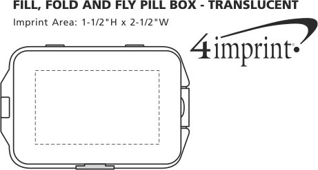Imprint Area of Fill, Fold and Fly Pill Box - Translucent