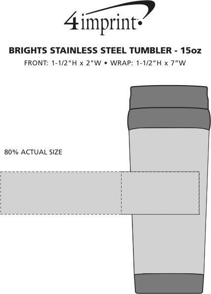 Imprint Area of Brights Stainless Steel Tumbler - 15 oz.