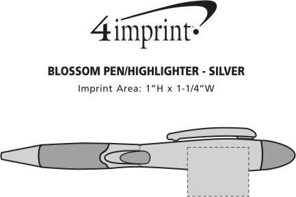 Imprint Area of Blossom Pen/Highlighter - Silver