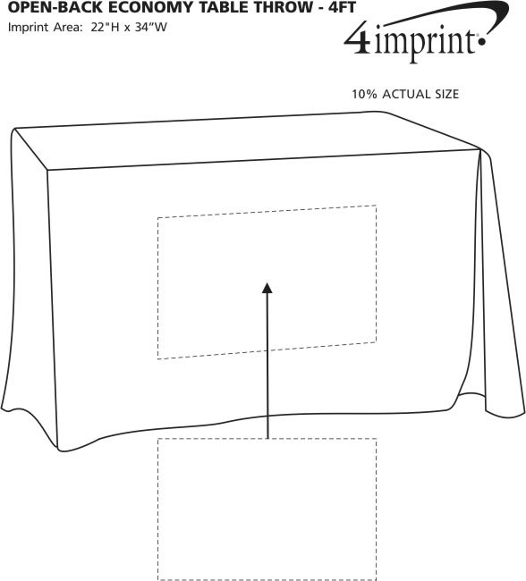 Imprint Area of Hemmed Open-Back Poly/Cotton Table Throw - 4'