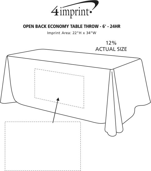 Imprint Area of Hemmed Open-Back Poly/Cotton Table Throw - 6' - 24 hr
