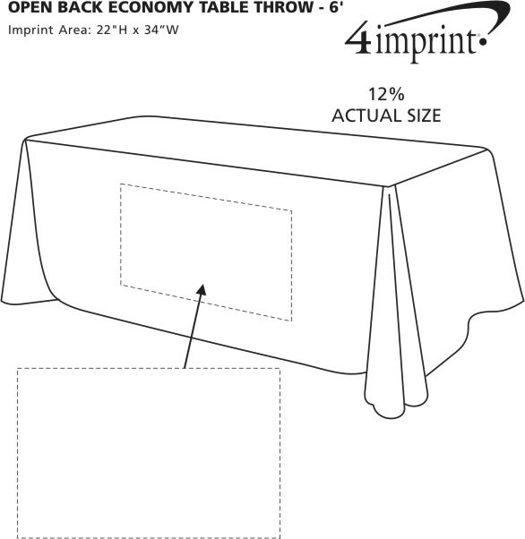 Imprint Area of Hemmed Open-Back Poly/Cotton Table Throw - 6'