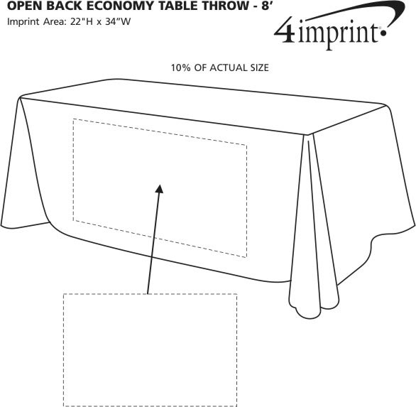 Imprint Area of Hemmed Open-Back Poly/Cotton Table Throw - 8'