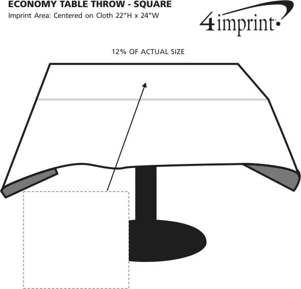 Imprint Area of Hemmed Poly/Cotton Table Throw - Square