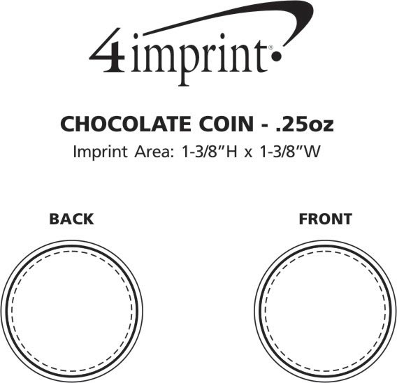 Imprint Area of Chocolate Coin - .25 oz.