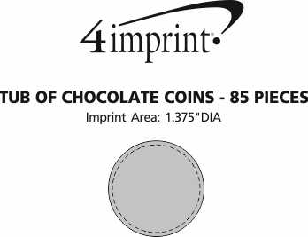 Imprint Area of Tub of Chocolate Coins - 85 Pieces