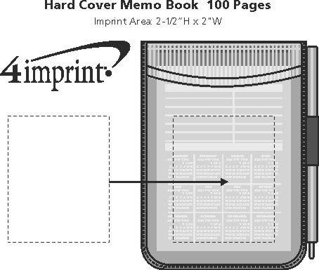 Imprint Area of Hard Cover Memo Book - 100 Pages