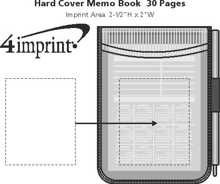 Imprint Area of Hard Cover Memo Book - 30 Pages