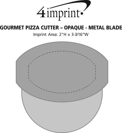 Imprint Area of Gourmet Pizza Cutter - Opaque - Metal Blade