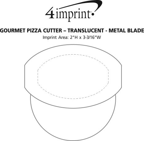 Imprint Area of Gourmet Pizza Cutter - Translucent - Metal Blade