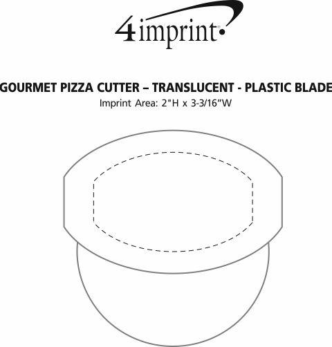 Imprint Area of Gourmet Pizza Cutter - Translucent - Plastic Blade