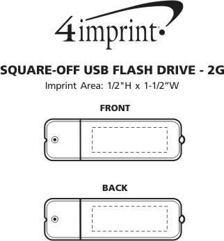 Imprint Area of Square-off USB Flash Drive - 2GB