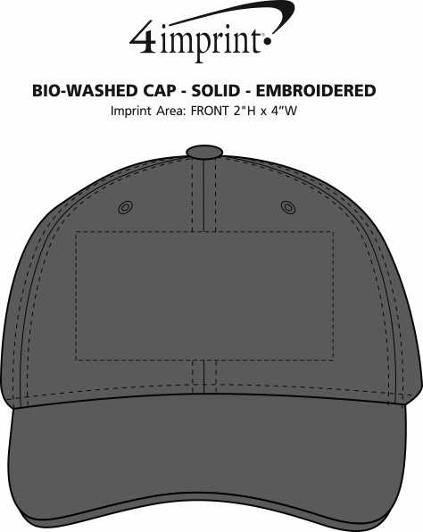 Imprint Area of Bio-Washed Cap - Solid - Embroidered