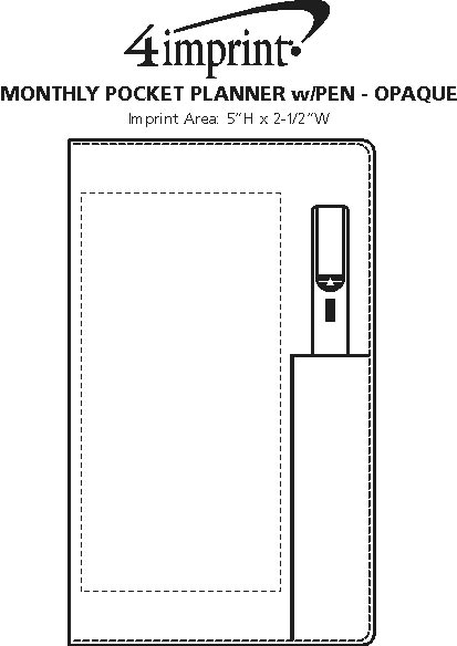 Imprint Area of Monthly Pocket Planner with Pen - Opaque