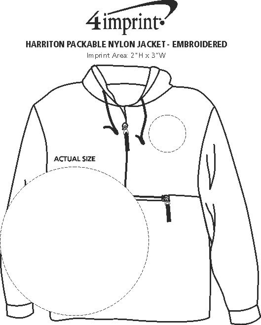 Imprint Area of Harriton Packable Nylon Jacket - Embroidered
