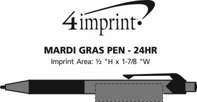 Imprint Area of Mardi Gras Pen - 24 hr