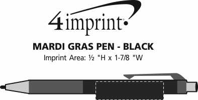 Imprint Area of Mardi Gras Pen - Black