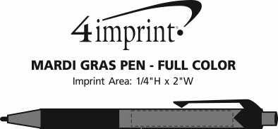 Imprint Area of Mardi Gras Pen - Full Color